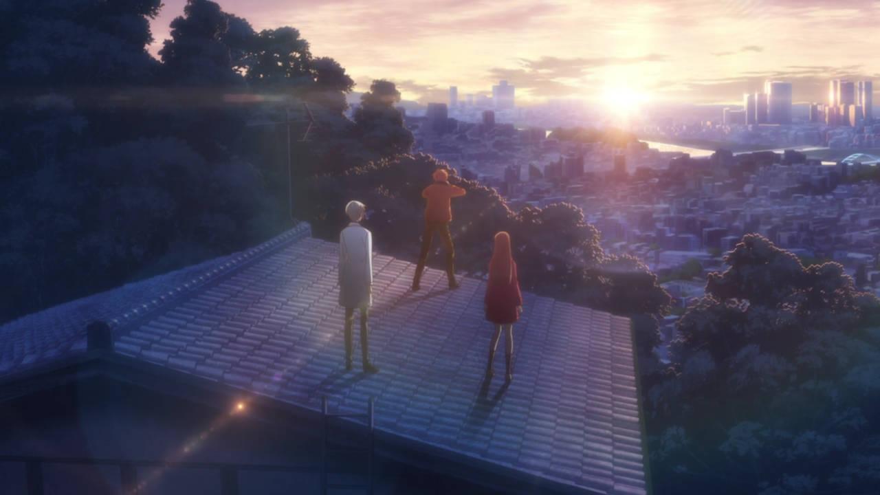 Tohru, Yuki, and Kyo enjoying the New Year Sunrise - Fruits Basket Episode 8